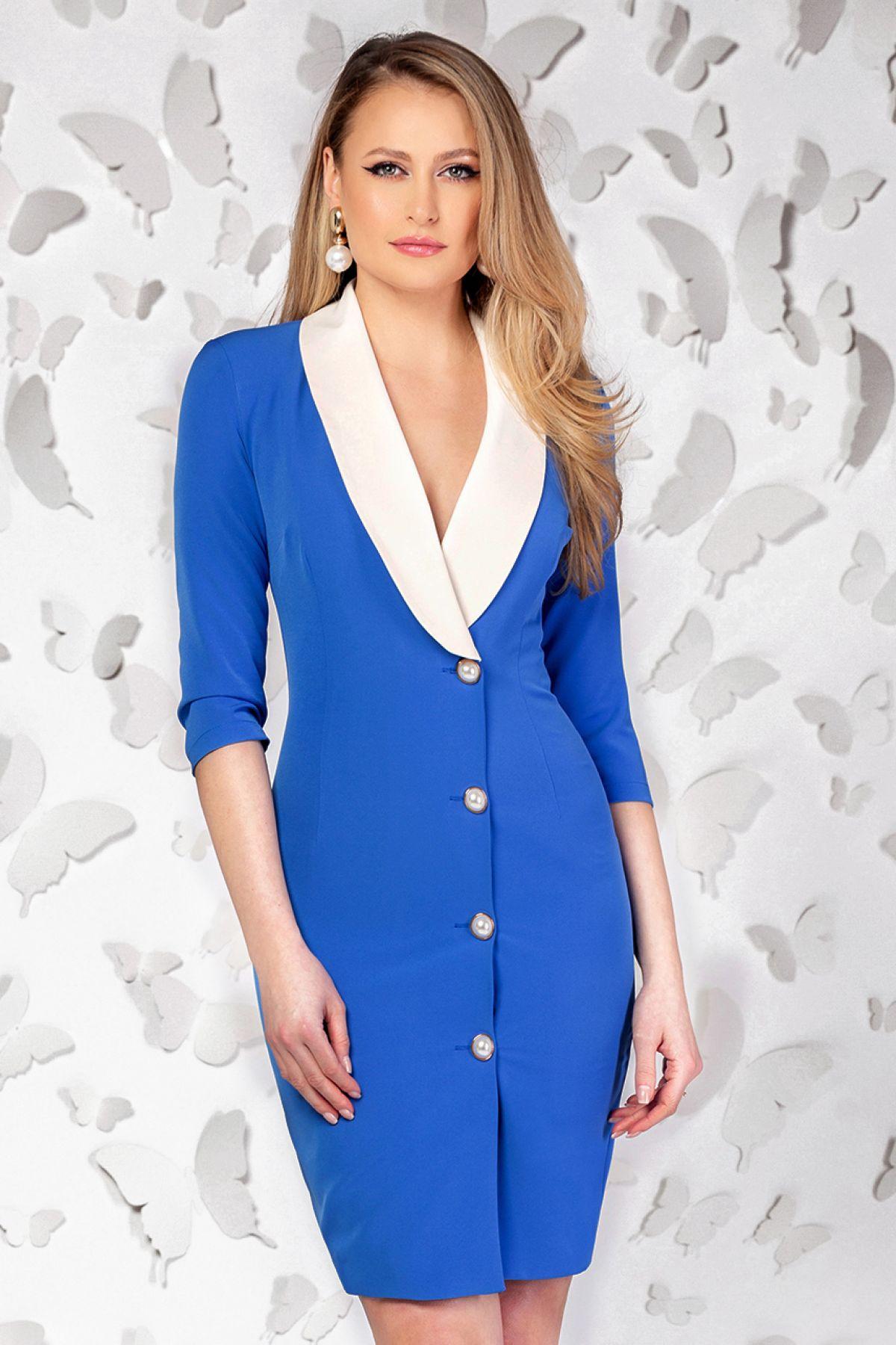 Rochie Pretty Girl office albastra cu guler tip sal Pretty-Girl