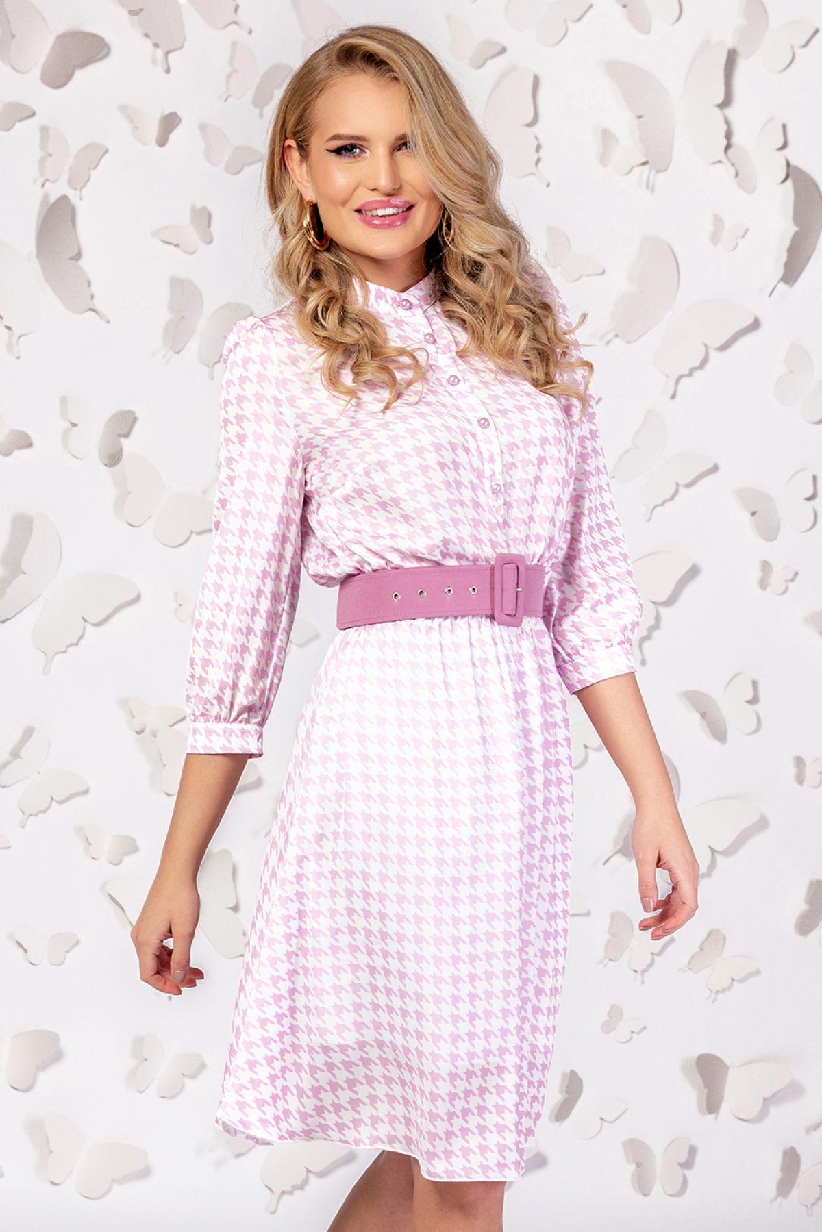 Rochie Pretty Girl roz cu imprimeu pepit si curea in talie Pretty-Girl