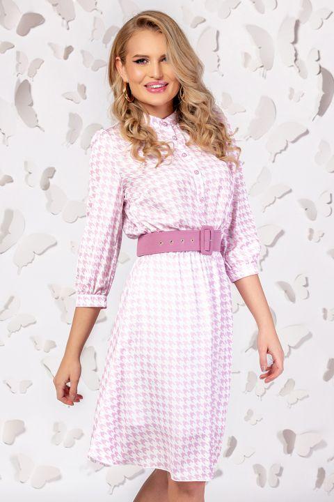 Rochie Pretty Girl roz cu imprimeu pepit si curea in talie