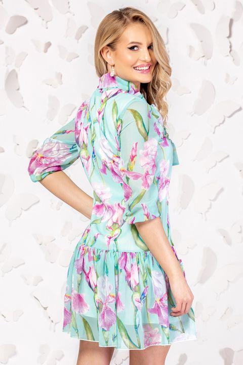 Rochie Pretty Girl vernil din voal cu print floral si guler tip esarfa