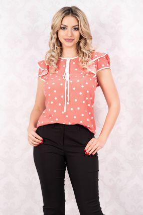 Bluza MBG roz cu buline cu maneca scurta cu volanase