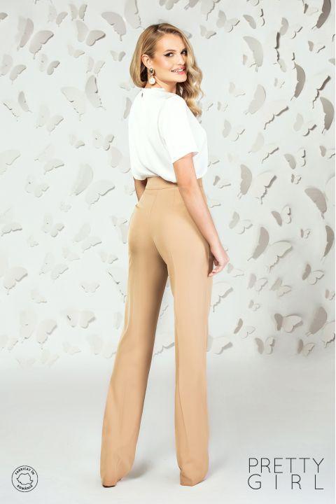 Pantaloni drepti Pretty Girl bej cu talie inalta