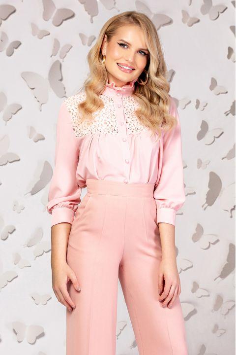Camasa Pretty Girl roz cu platca din dantela