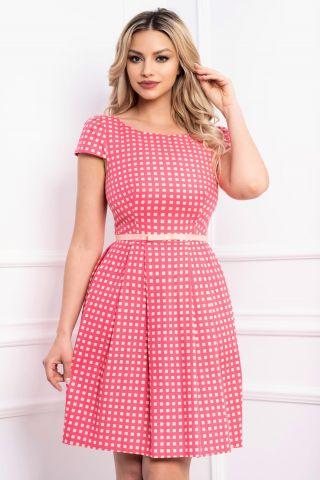 Rochie de vara roz cu imprimeu si buzunare laterale