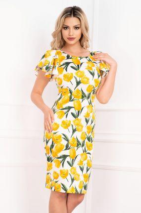 Rochie de zi cu imprimeu lalele galbene si maneca fluture