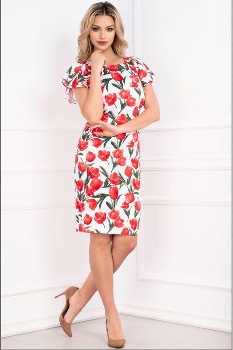 Rochie de zi cu imprimeu lalele rosii si maneca fluture