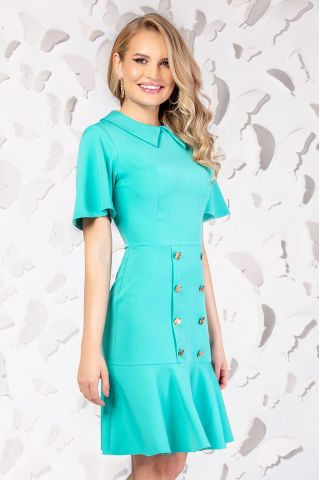 Rochie Pretty Girl office mint cu nasturi decorativi