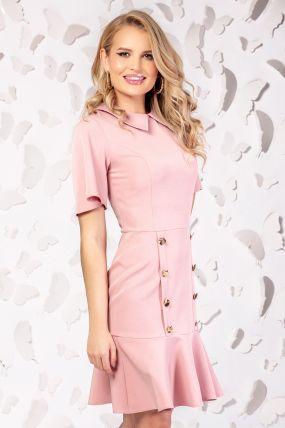 Rochie Pretty Girl office roz cu nasturi decorativi