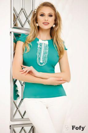 Camasa Fofy turquoise cu perle si dantela