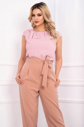 Bluza Effect roz din voal cu accesoriu tip funda