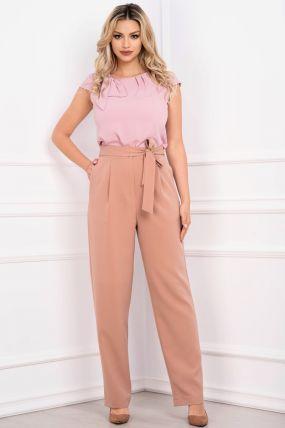 Pantaloni Effect lejeri roz prafuit cu funda in talie