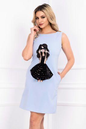 Rochie La Donna de zi bleu cu imprimeu fashion