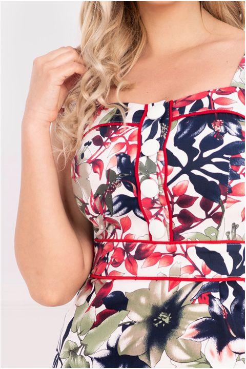 Rochie de zi MBG cu imprimeu tropical multicolor