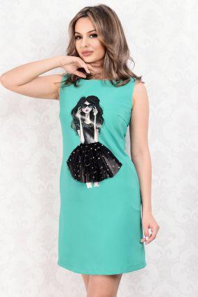 Rochie La Donna de zi vernil cu imprimeu fashion