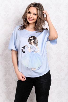 Bluza La Donna bleu cu imprimeu fashion