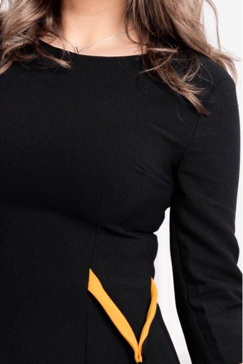 Rochie MBG office cu volanas plisat galben