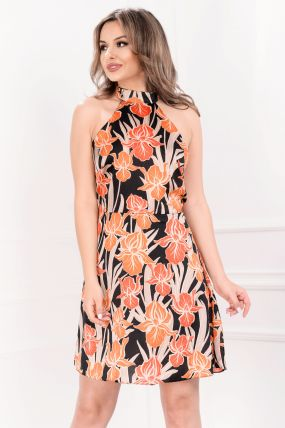 Rochie de vara din satin cu imprimeu portocaliu