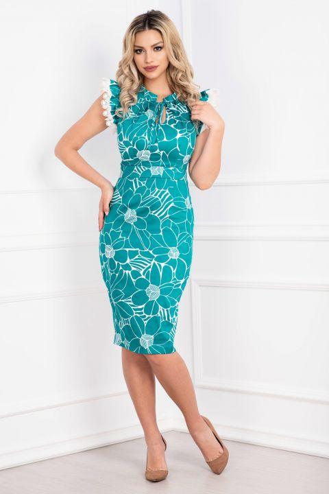 Rochie MBG turquoise cu volanase la umeri