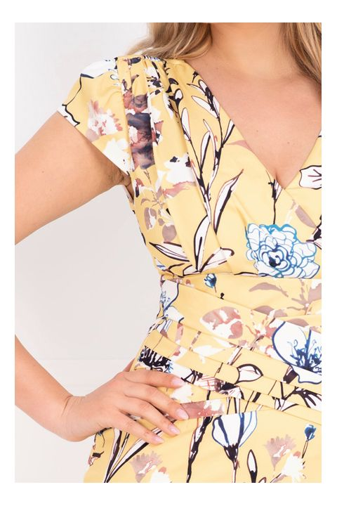 Rochie galbena cu imprimeu floral tip pictura