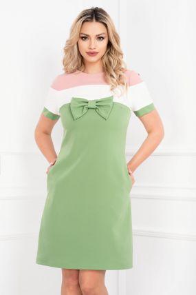 Rochie MBG de zi verde cu funda si dungi late