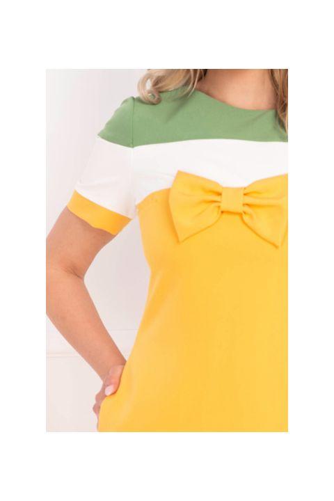 Rochie de zi galbena cu funda si dungi late
