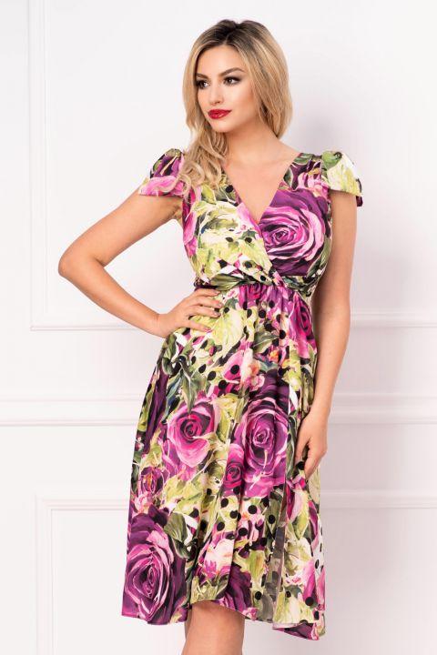 Rochie multicolora in clos cu funde pe umeri