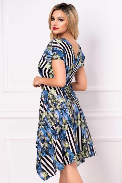 Rochie Moze de zi petrecuta cu dungi si imprimeu floral albastru