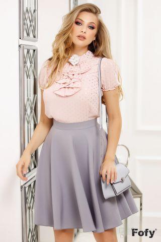 Bluza Fofy roz din voal texturat cu buline argintii