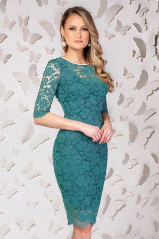 Rochie Pretty Girl eleganta din dantela turquoise inchis