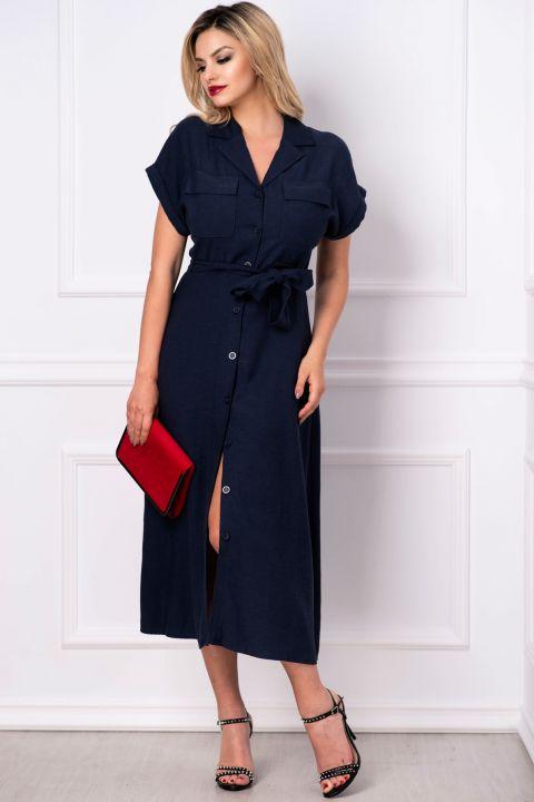 Rochie de vara din vascoza bleumarin cu maneca raglan