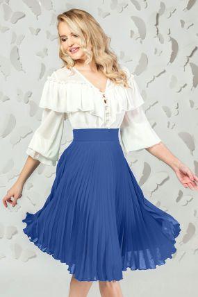 Fusta Pretty Girl albastra din voal plisat