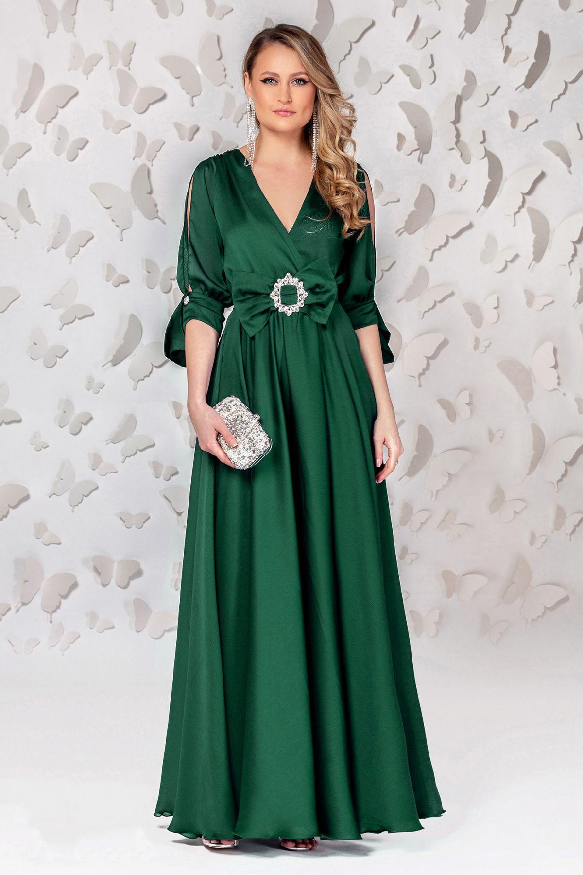 Rochie Pretty Girl lunga de seara verde smarald cu cordon tip funda