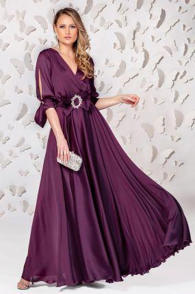 Rochie Pretty Girl lunga de seara violet inchis cu cordon tip funda