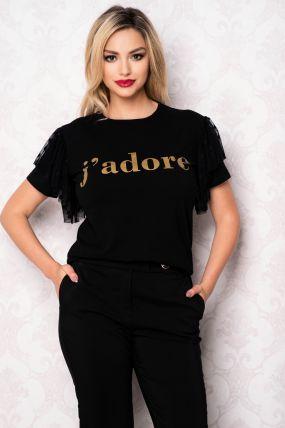 Tricou La Donna negru cu imprimeu si insertii din tul cu buline