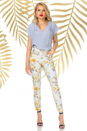 Pantaloni Pretty Girl bleu de vara cu print floral