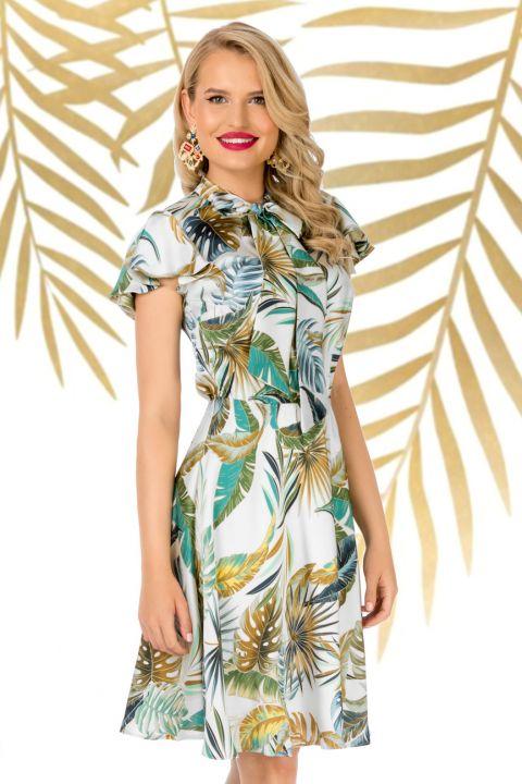 Rochie Pretty Girl de zi cu imprimeu frunze tropicale colorate