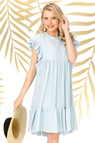 Rochie Pretty Girl de zi lejera bleu din vascoza cu volanase