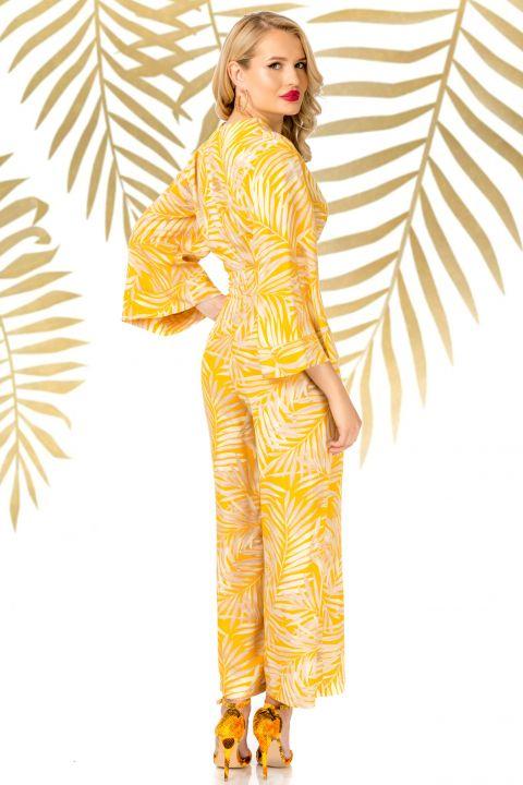 Salopeta Pretty Girl galbena lejera cu imprimeu tropical