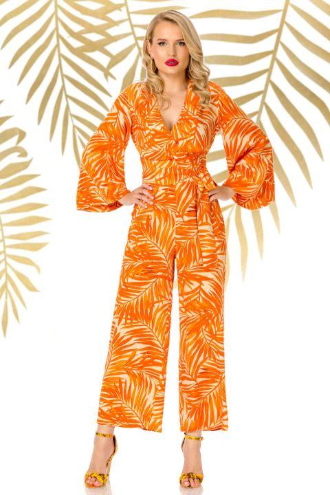 Salopeta Pretty Girl orange lejera cu imprimeu tropical