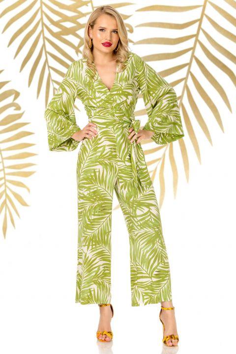 Salopeta Pretty Girl verde lejera cu imprimeu tropical
