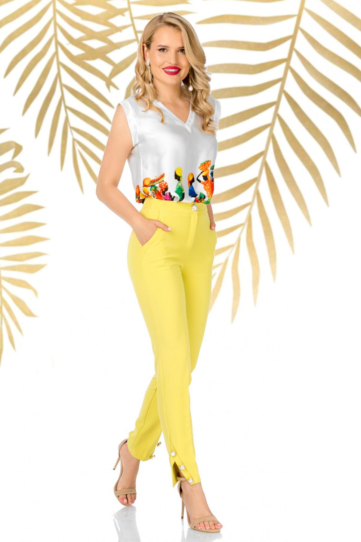 Pantaloni Pretty Girl office galbeni cu nasturi aurii cu perla