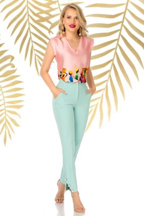 Pantaloni Pretty Girl office mint cu nasturi aurii cu perla