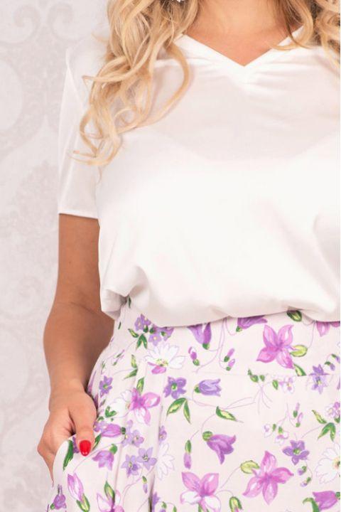 Fusta Effect lila cu imprimeu floricele si buzunare laterale