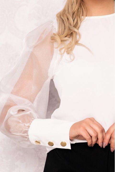 Bluza Effect ivoire cu maneci bufante din organza