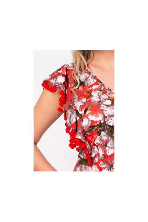Rochie Effect de vara din vascoza cu ciucuri si imprimeu floral