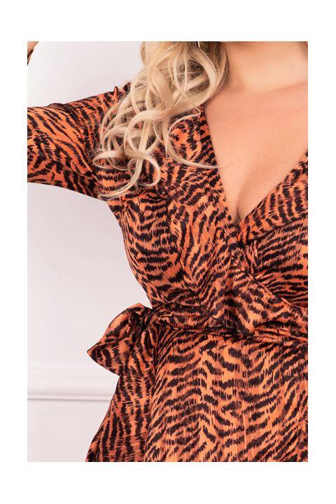 Rochie Atmosphere scurta din voal cu imprimeu tigru