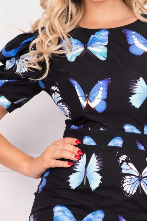 Rochie Atmosphere scurta cambrata cu imprimeu fluturi si maneca bufanta