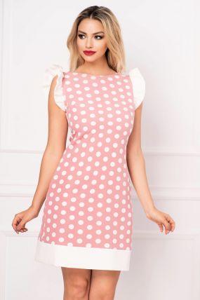 Rochie MBG de vara roz pudrat cu buline si funda stilizata la spate