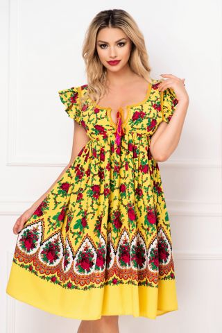 Rochie Venezia lejera galbena cu decupaj la spate si imprimeu floral
