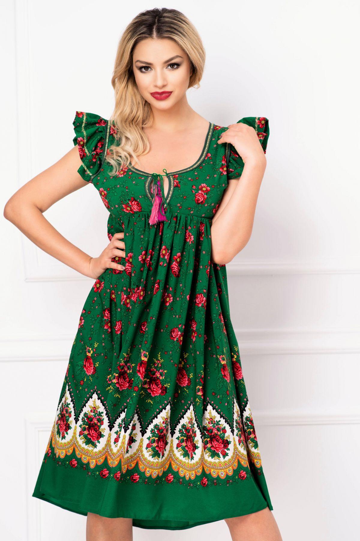 Rochie Venezia lejera verde cu decupaj la spate si imprimeu floral